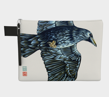 Carry-all zipper pouches featuring printed artwork from Canadian artist Leah Pipe. Denim-lined carry-alls come in 4 handy sizes to make toting and organizing almost anything effortless.