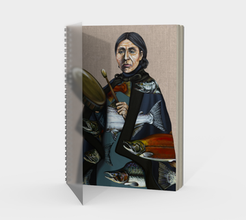 Spiral Bound notebook with paintings by Canadian artist Leah Pipe 'Salmon Song'  Great gifts for writers. Great gifts for fisherman. Painting with First nations woman playing a drum with salmon images in her dress