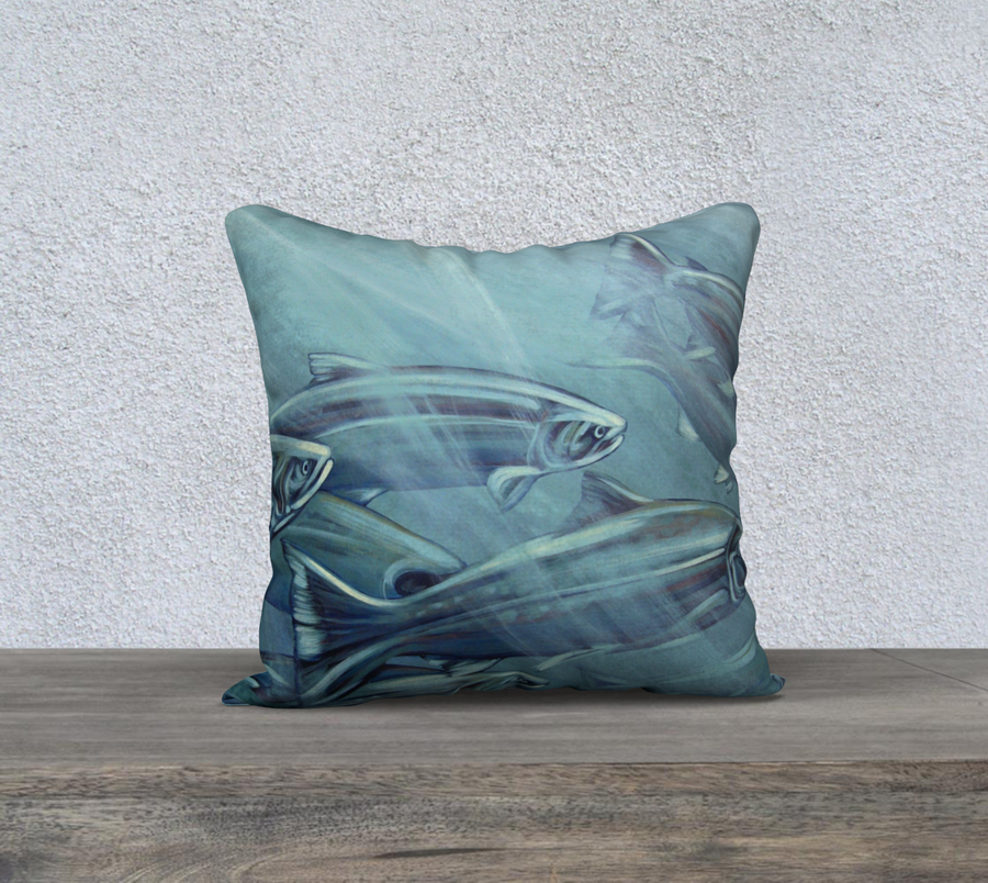 Pillow case with fish painting  by Canadian Artist Leah Pipe