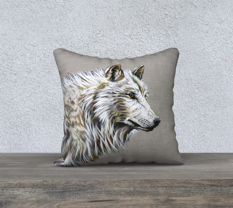 Pillow case with wolf painting  by Canadian Artist Leah Pipe