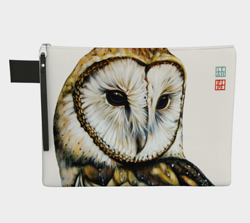For each household there is an owl that is assigned to guard the home. They come out at night to hunt and keep an eye out for the homestead.  Carry-all zipper pouches featuring printed artwork by talented Canadian artist Leah Pipe. Denim-lined carry-alls come in 4 handy sizes