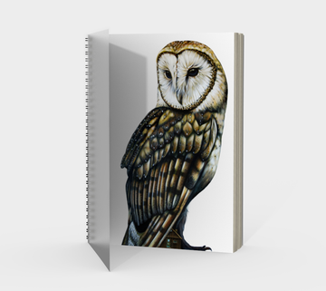 Spiral Bound notebook with owl painting by Canadian artist Leah Pipe 'The Guardian'  Great gifts for writers. Great gifts for owl lovers. Great housewarming gift