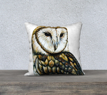 Pillow case with owl painting  by Canadian Artist Leah Pipe
