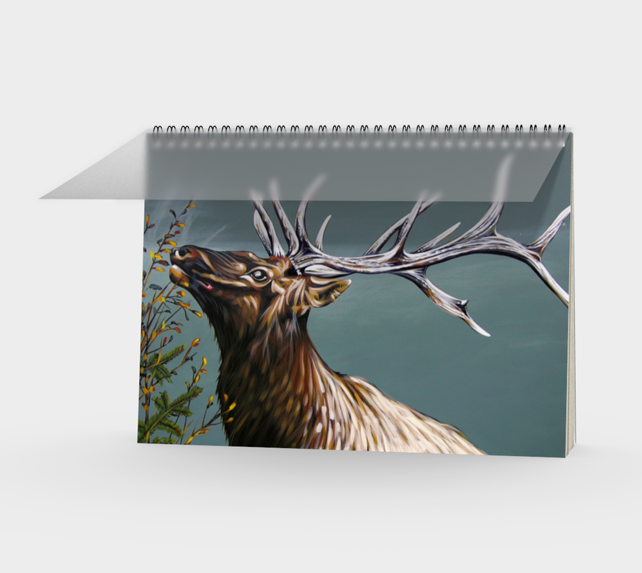 Spiral Bound notebook with a painting by Canadian artist Leah Pipe of an elk  Great gifts for writers.