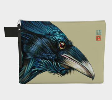 Carry-all zipper pouches featuring printed artwork from the original painting 'Raven Spirit' by talented Canadian artist Leah Pipe. Denim-lined carry-alls come in 4 handy sizes to make toting and organizing almost anything effortless.