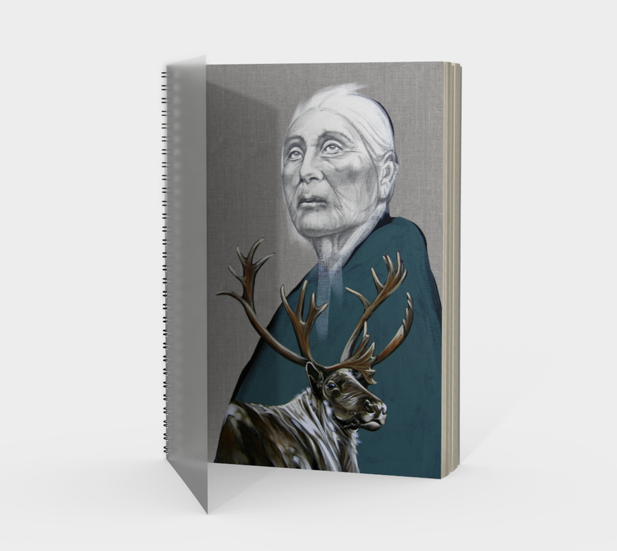 Spiral Bound notebook with a painting by Canadian artist Leah Pipe 'Caribou Hill'  Great gifts for writers. Acrylic painting of first nations woman with an elk on a notebook