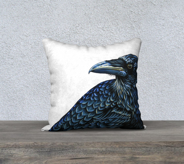 Pillow case with painting of a raven by Canadian Artist Leah Pipe