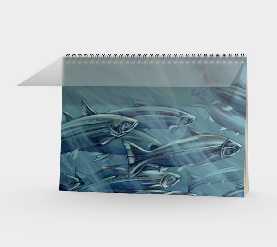 Spiral Bound notebook with fish paintings by Canadian artist Leah Pipe 'Singing the Rivers Song'  Great gifts for writers. Great gifts for fisherman