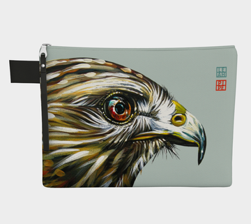 Carry-all zipper pouches featuring printed artwork of 'Little Hawk' by talented Canadian artist Leah Pipe.