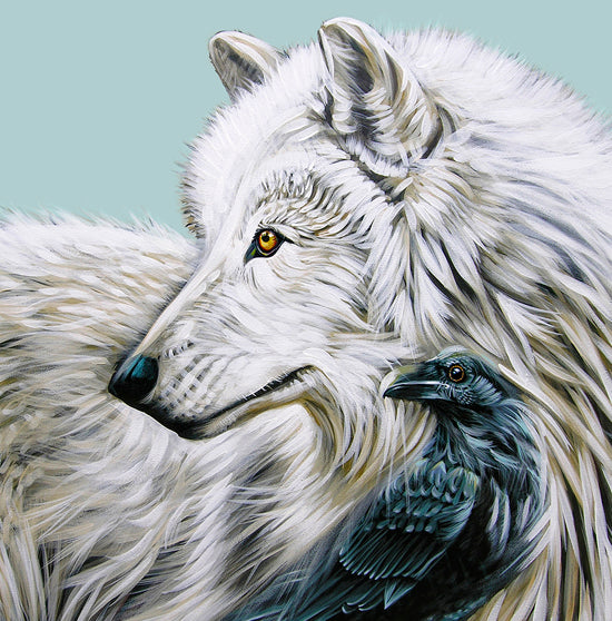 White Wolf Raven King - Canvas