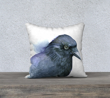 Pillow case with a watercolour painting of a raven by Canadian Artist Leah Pipe
