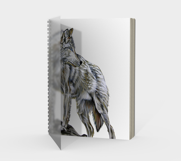 Spiral Bound notebook with wolf painting by Canadian artist Leah Pipe 'The Leader'  Great gifts for writers. Great gifts for wolf lovers