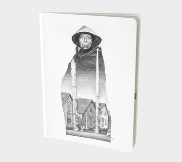 A pencil drawing showing a woman wrapped in a wool blanket wearing a cedar hat. An image of Anspayaxw village (kispiox), Northern BC Canada. lives within her robe the memory of her past within her.  The village shows signs of settler influence with homes having windows some of them bordered up. The totems of Anspayaxw are towering cultural works of wonder. Pointing skywards, past the clouds and beyond thus creating a cedar sky. Sketch book for writers with pencil drawing by Leah Pipe