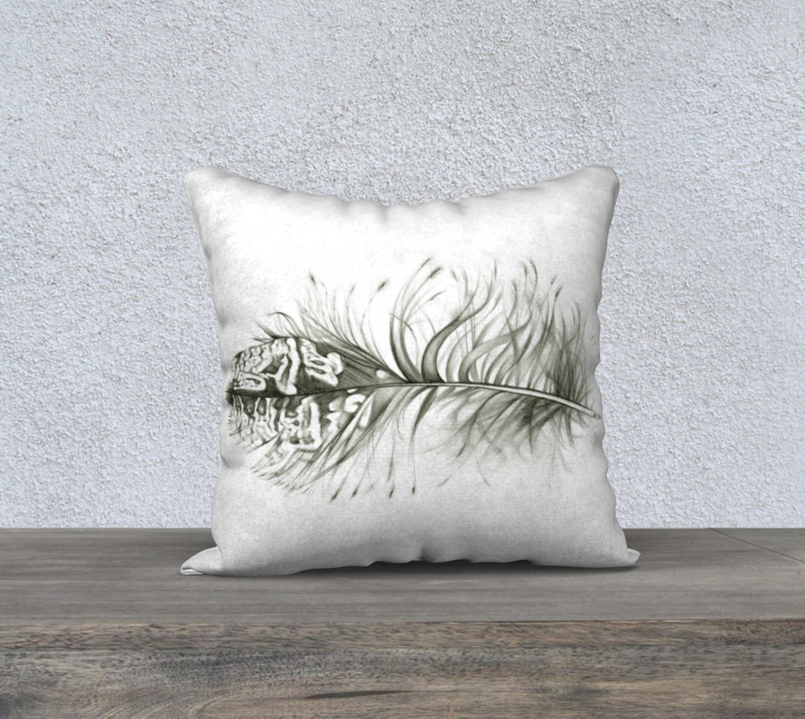 Owl Feather - 18x18 Pillow Cover