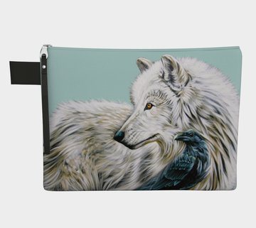 Carry-all zipper pouches featuring printed artwork of a wolf & a raven by talented Canadian artist Leah Pipe. Denim-lined carry-alls