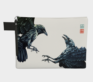 At the time of year for ravens to start building their nests and store food. These two ravens dance in the air vying for food for the winter. Be prepared, like the ravens.  Carry-all zipper pouches featuring printed artwork by talented Canadian artist Leah Pipe. Denim-lined carry-alls come in 4 handy sizes to make toting and organizing almost anything effortless.