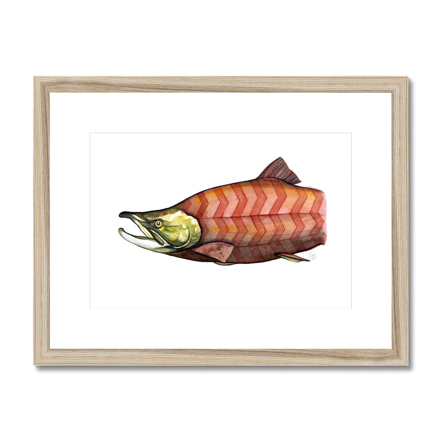 Chevron Salmon - Framed & Mounted Print