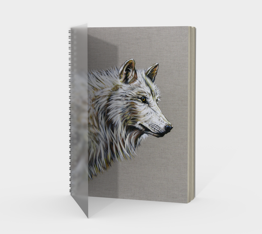 Spiral Bound notebook with wolf painting by Canadian artist Leah Pipe.