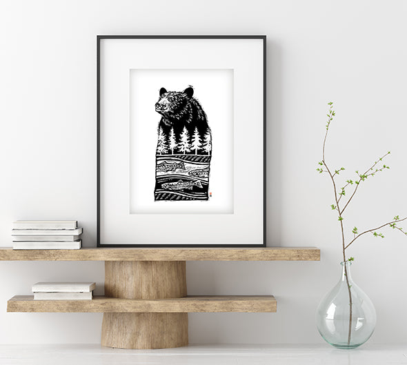 Bear River, Dreaming of Salmon - Framed & Mounted Print
