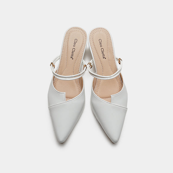 Aneta White Kitten Heels Shoes