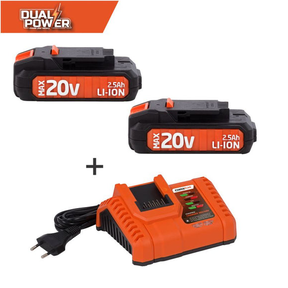Dual Power Double 20V Battery and Charger Combo
