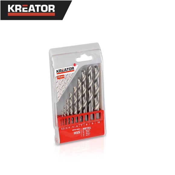Kreator 10pcs HSS Metal Drill Bit Set