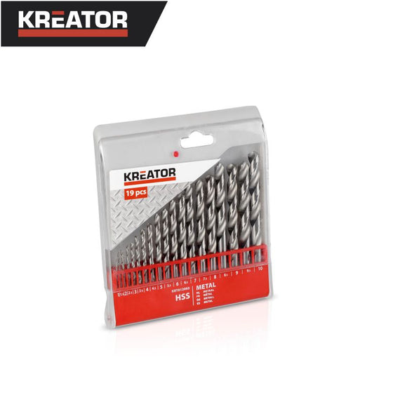 Kreator 19pcs HSS Metal Drill Bit Set