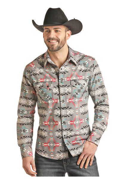 Grey Aztec Snap Shirt