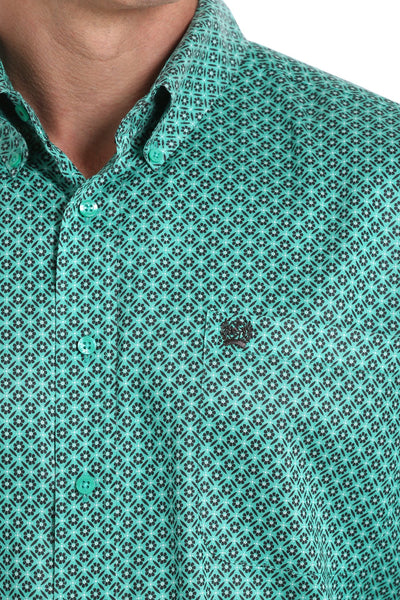 Teal Floral Geometric Print Button Down
