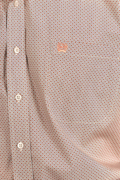 Tan and Orange Geo Print Button Down
