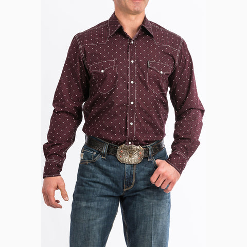 Blocked Burgundy Snap Shirt