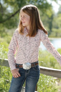 Girls Pink Arrow Print Snap Western Shirt
