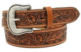 Mens Salinas Floral Embossed Belt and Buckle