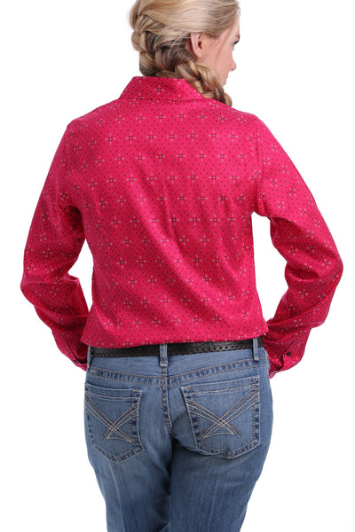 Fuchsia Geometric Button Down