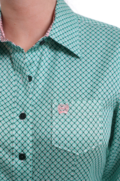 Green & Coral Geometric Button Down