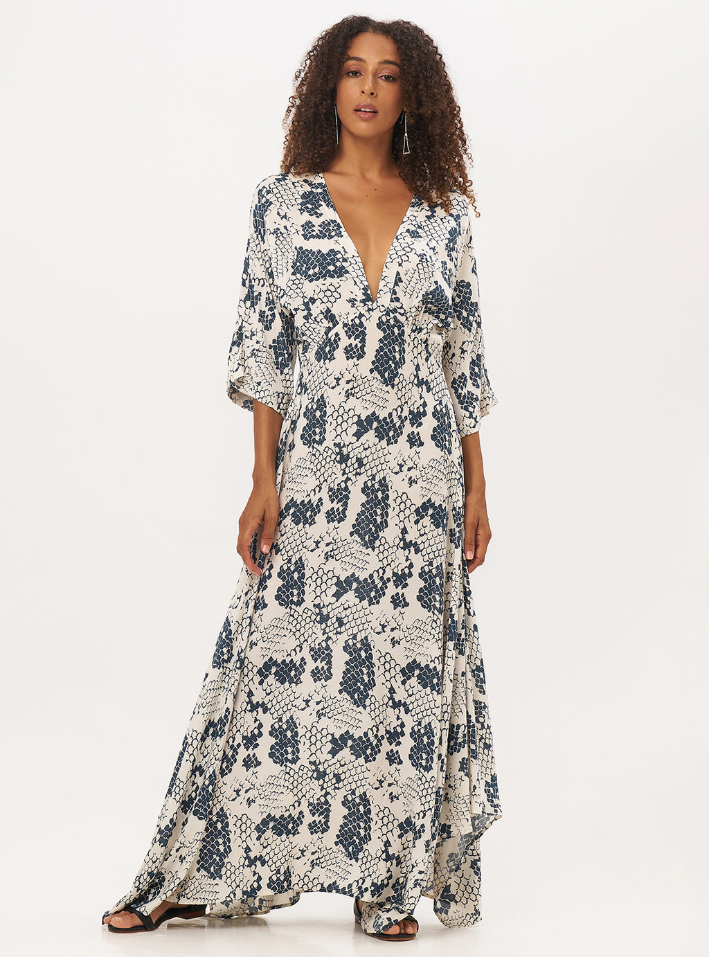 Claudia Maxi Dress Mermaid Print - Lily Jean