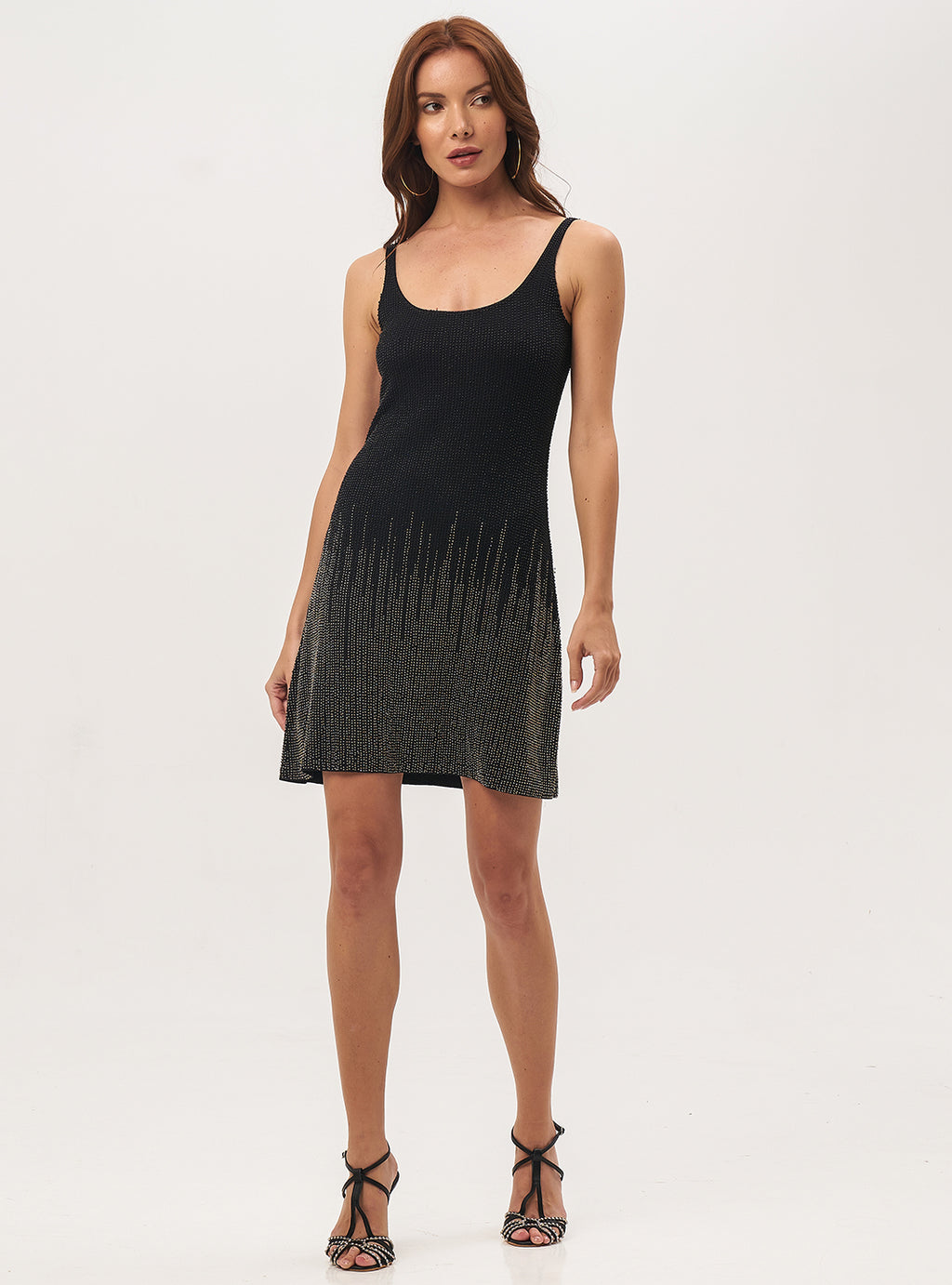 Glass Beads Black Dress - Lily Jean