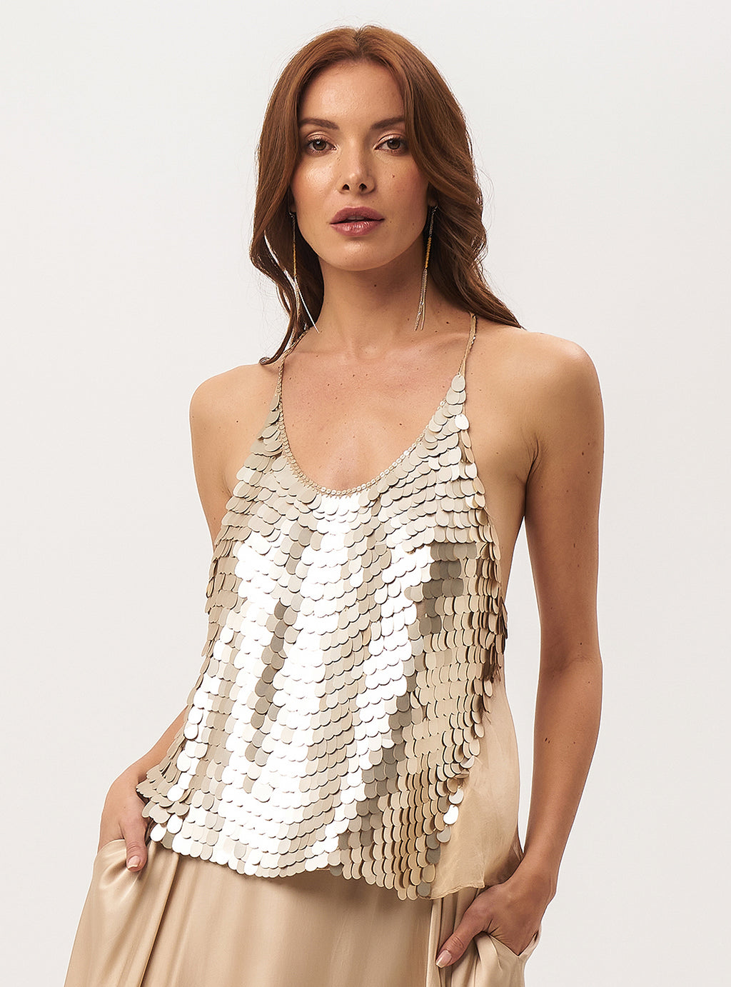 Dollar Beaded Racer Back Top - Lily Jean
