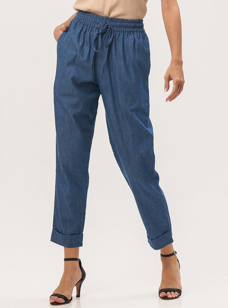 High Waist Denim Top Pants - Lily Jean