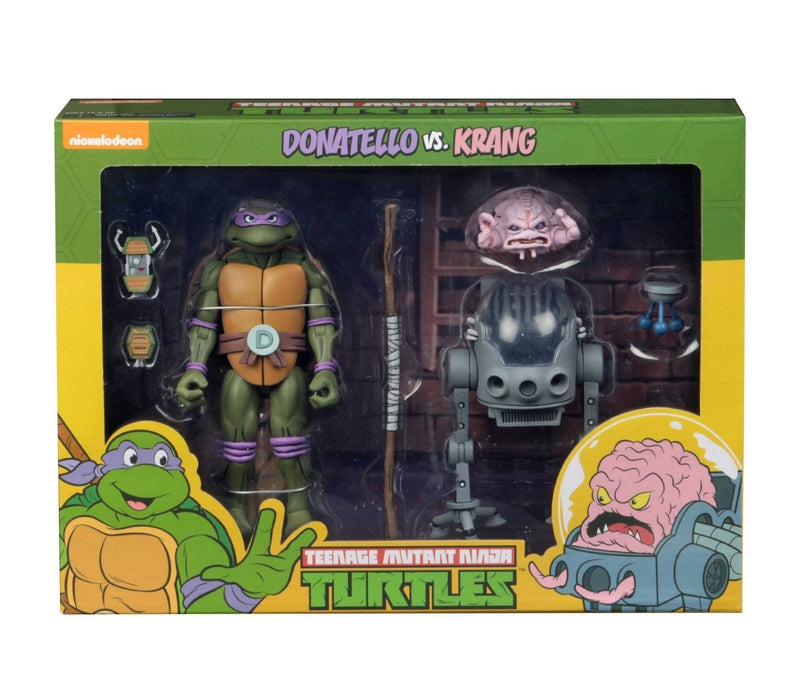 NECA TMNT CARTOON DONATELLO VS KRANG BW 2PK