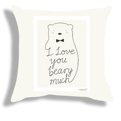 The Happy Dreams Cushion Cover with Filler | I Love You Beary Much | Gifts for Loved Ones | Valentine's day Gift | Gifts for Boyfriend Girlfriend (16 x 16 inches)