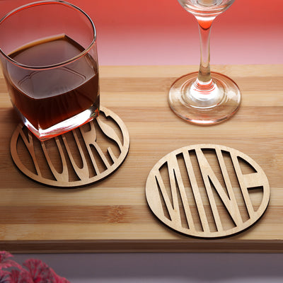 Yours-Mine Wooden Coasters for Couples - THD-The Happy Dreams