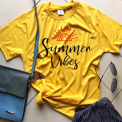 Summer vibes Yellow T-Shirt - THD-The Happy Dreams