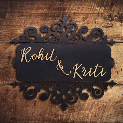 Personalized Wooden Name Plate for Couples - THD-The Happy Dreams