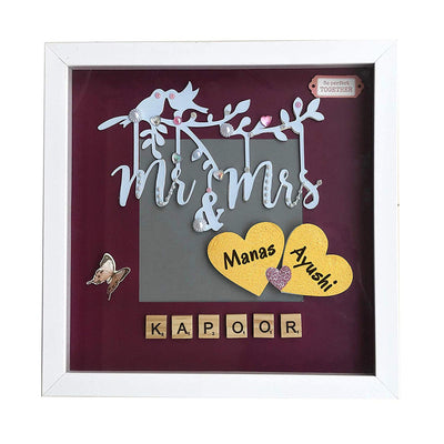 Mr & Mrs Personalized Scrabble Box Frame (Wine & Grey) - THD-The Happy Dreams
