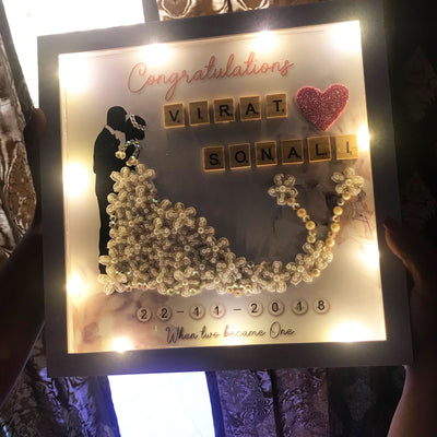 Bride & Groom personalized LED frame keepsake gift - THD-The Happy Dreams
