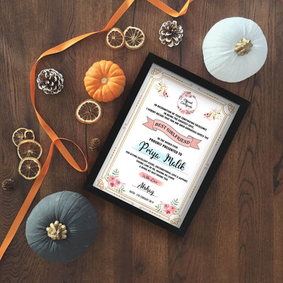 Personalized Certificate Award for World's Best Girlfriend - THD-The Happy Dreams