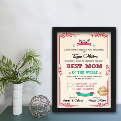 Personalized Certificate for World's Best Mom - THD-The Happy Dreams
