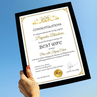 Personalized Certificate for World's Best Wife - THD-The Happy Dreams