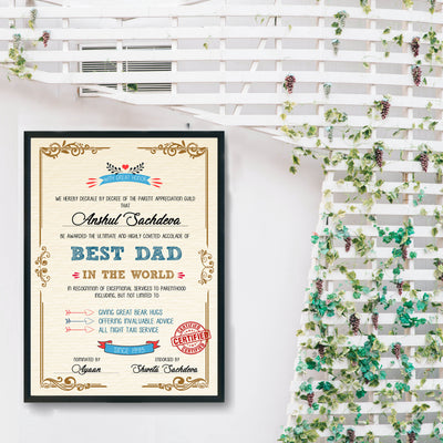 Personalized Certificate for World's Best Dad - THD-The Happy Dreams